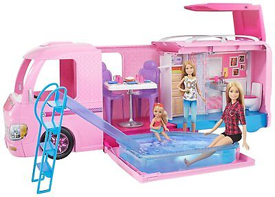 Barbie Dream Camper Van Campsite Play Set Pool Water Slide Beds Dolls Caravan