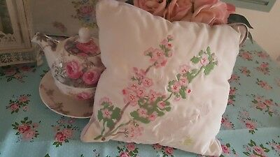 Cute shabby chic Vintage hand embroidered cushion apple blossom