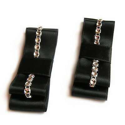 clips chaussure mariage double noeud satin noir strass
