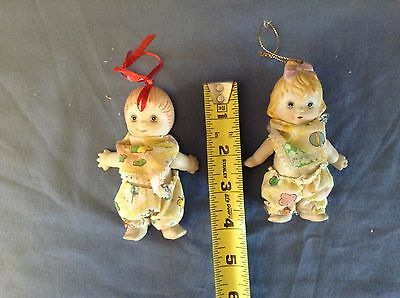 "RARE 2 Vintage Miniature 4"" Jointed Porcelain ""Googly Googley""  Dolls Dressed"