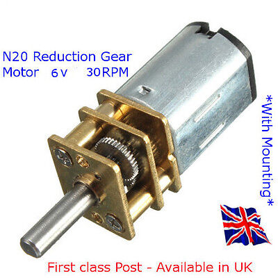 Micro Speed Reduction Gear Motor with Metal Gearbox DC 6V 30RPM N20 Available UK