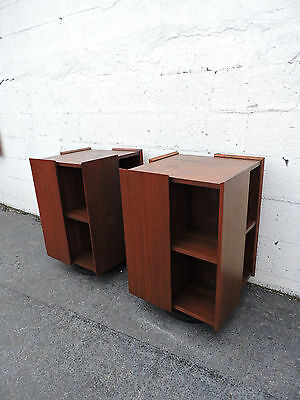 MCM Pair of Swivel Bookcases / Bookshelf Side Tables by Timber Line, inc. 7972