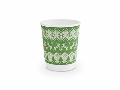 Vegware 8oz Green Christmas Jumper Hot Insulated Cup (Pack of 500)