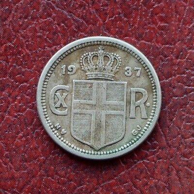 Iceland 1937 far 7 type copper-nickel 25 aurar