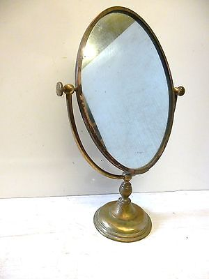 Antique Vintage Brass Standing Vanity Mirror by Peerage England