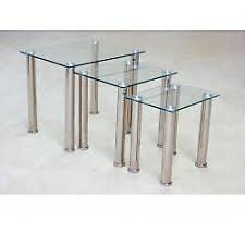 Clear Glass Nest Of 3 Tables