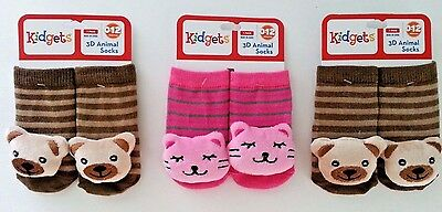 3D ANIMAL SOCKS BABY BOOTIES INFANTS toddlers Teddy Bear Kitty Cat 0-12 MONTHS