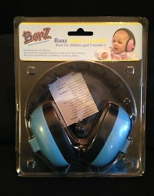 Banz Baby Toddler Mini Earmuffs Blue 3+ Months Hearing Protection New