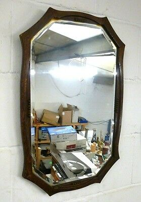Antique Vintage Octagonal Oak Frame Bevelled Glass Wall Mirror