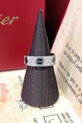 Cartier Love Ring B4207600 - White Gold Set With Diamonds & Black Ceramic - B&P!