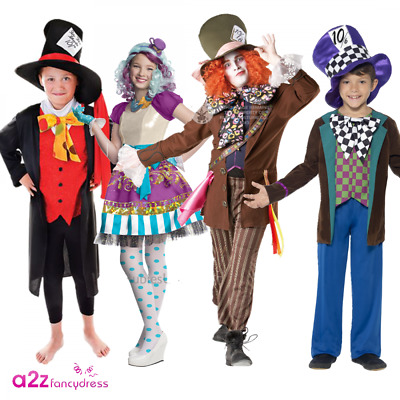 Kids Adult Mad Hatter Wonderland Story Book Day Character Fancy Dress Costume