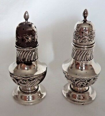 Pair Large Victorian Chester 1897 Sterling / Solid Silver Salt & Pepper Pots