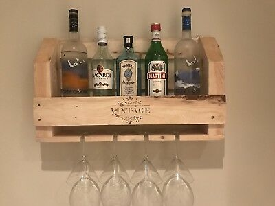 Handcrafted Rustic Pallet Wood Mini Cocktail/Spirits Bar Rack x 4 Glasses