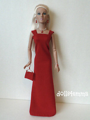 "TYLER Clothes Tonner 16"" handmade red GOWN + PURSE + JEWELRY Fashion NO DOLL d4e"