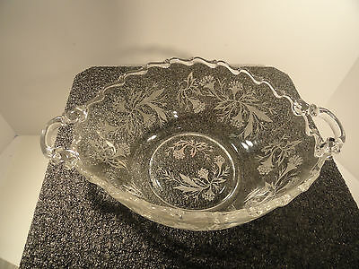 Fosteria Heather Etched Oval Handled Bowl