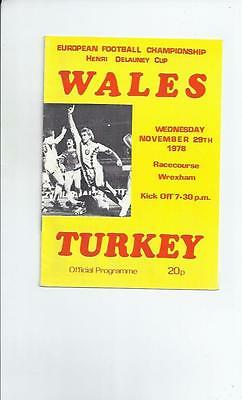 Wales v Turkey at Wrexham Football Programme 1978
