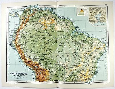 Original 1909 Physical Map of The Northern Part of South America