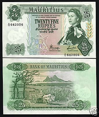 Mauritius 25 Rupees P32 B 1967 Queen Ox Sugarcane Unc Rare Money Currency Note