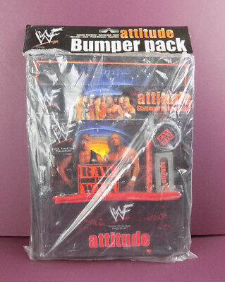 WWF Attitude Bumper Stationery Pack Pen Pencil Case Ruler Book Ring Binder WWE