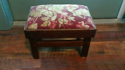 Vtg Antique Small Country Pine Padded Upholstered Foot Stool Footstool Ottoman