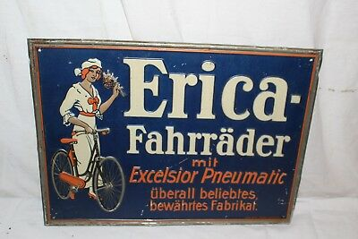"Rare Vintage c.1915 Erica Fahrrader Bicycles Gas Oil 17"" Embossed Metal Sign"