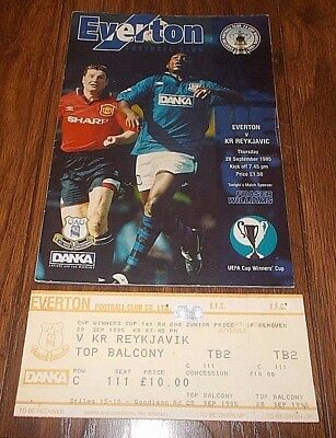 Everton vs KR Reykjavic Cup Winners Cup + Ticket 1995