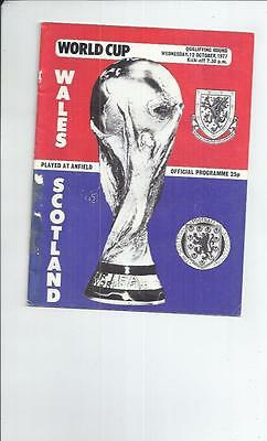 Wales v Scotland Football programme 1977 at Liverpool