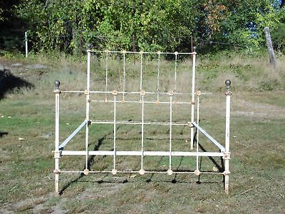 Antique Iron & Brass Full Double Bed Frame Flagpole Ball Finials Cone Pin Rails