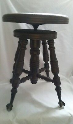 Antique Wood Piano Stool Glass Ball Claw Feet Spinning Adjustable Seat