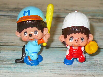 "Vintage Monchhichi 1979 BASEBALL PLAYERS Lot of 2 PVC FIGURES 2"" T Cake Topper"