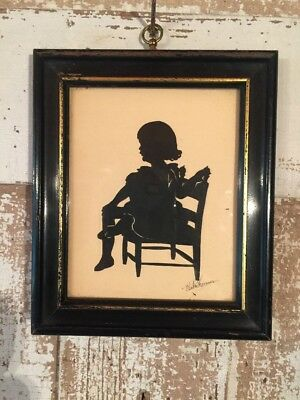 Nice Framed Hand-Cut Silhouette of Girl Seated in Chair! Beatrix Sherman -1928!