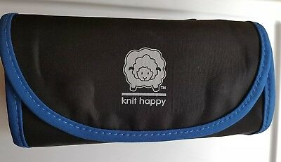 Knit Happy or Crochet Happy Notions Pouch Black New Four pouch roll