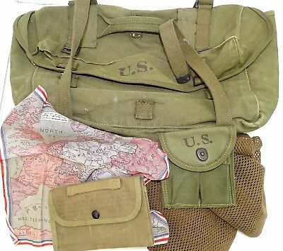 Original Wwii Us Army Canvas Carry Bag, Scarf, Cloth Map, Repro Ammo Pouch Etc