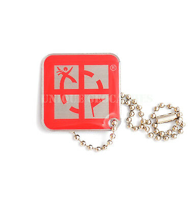 RED square Geocaching logo Travel Bug trackable Travelbug Dog Tag Unactivated
