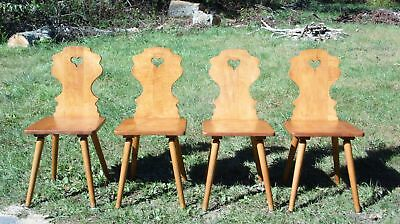 Antique Set of 4 Early Conant Ball Solid Maple Country Farmhouse Dining Chairs