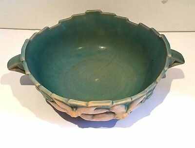 Roseville USA Clematis Matte Green American Art Pottery Bowl Art Deco