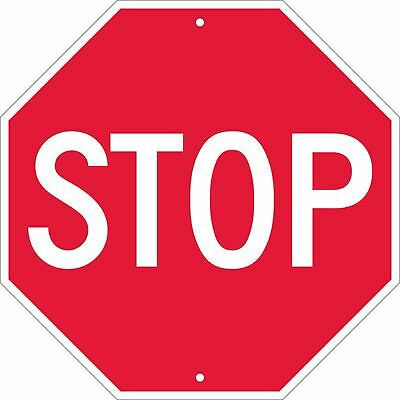 """Traffic Sign, """"STOP"""", 18"""" Width x 18"""" Height, Rigid Plastic White on Red"""