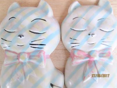 2 Vintage Plaster Chalkware Cats With Bows Wall Hanging Plaques