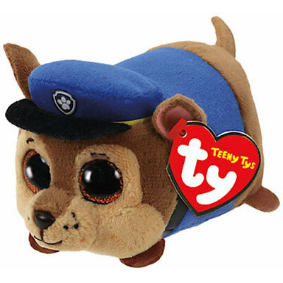 "Ty Beanie Boos 4"" Teeny Tys Paw Patrol CHASE w/ Ty Heart Tags MWMT's Stackable"