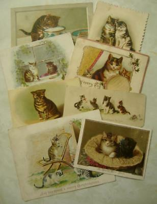 8 Vintage ANTIQUE VICTORIAN CHRISTMAS Cards CATS SINGLE SIDED New Year CRAFT