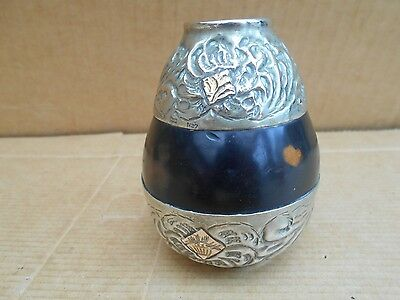 Unusual Argentinian Tea Gourd With Alpaca Silver  & Gold Detailing No Straw