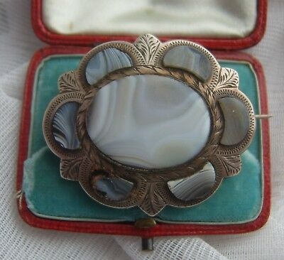 Large Victorian Scottish Solid Silver Montrose Agate Brooch