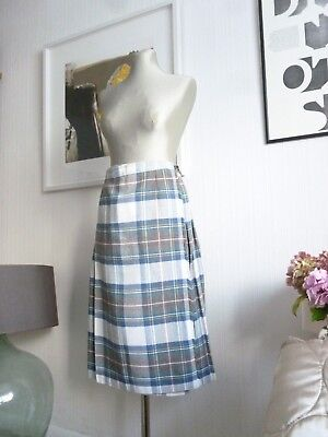Ladies Vintage Wool Blend White Blue Yellow Kilt Size 8 10 12 Waist 28 - 30