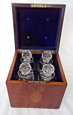 EARLY VICTORIAN c1850 DECANTER BOX / TANTALUS WITH HANDSOME INLAY