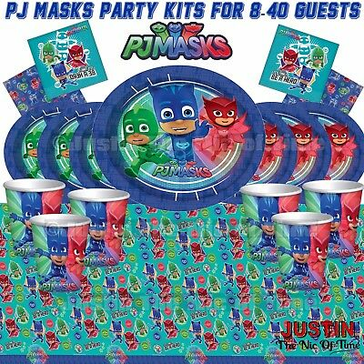 PJ MASKS Tableware Boys & Girls BIRTHDAY PARTY KITS 8 - 48 Guests Basic Kit