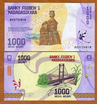 Madagascar, 1000 Ariary, 2017 P-New UNC > Completely Redesigned, Bridge