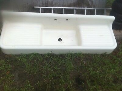 Vintage Cast iron Kitchen Sink Antique FarmHouse Porcelain Drainboard Standard
