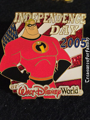 Disney Pin WDW Independence Day 2005 Mr. Incredible The Incredibles LARGE