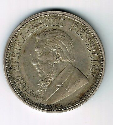 1896 ZAR South Africa 2 1/2 shillings half crown sterling silver coin - 14.1g
