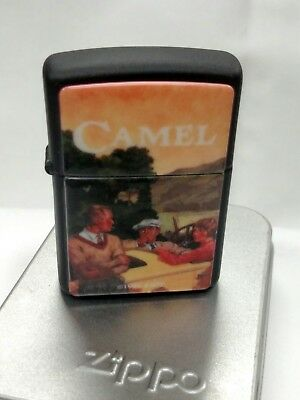 New 1996 Black Matte 1920's Camel Advertisement Zippo Technographic Chip J-XII